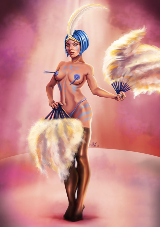 Burlesque pin up digital illustration